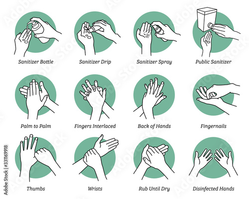 Fototapeta How to use hand sanitizer step by step instructions and guidelines. Vector illustrations artwork of hands sanitizing to kill and disinfect virus, bacteria, and germs. Disinfect correct and proper way. obraz