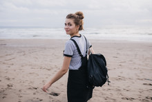 Dreamy Girl With Black Backpac...