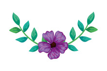 Cute Flower Purple With Branch...