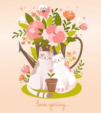 Pretty Card Design Of Cats In ...