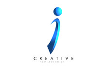 Creative I Letter Logo With Blue 3D Bright Swashes. Blue Swoosh Icon Vector.
