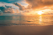 Sea sand sky concept, sunset colors clouds, horizon, horizontal background banner. Inspirational nature landscape, beautiful colors, wonderful scenery of tropical beach. Beach sunset, summer vacation