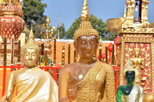 Buddha Statues Of Different Colors, Wat Phra That, Doi Suthep, Chiang Mai