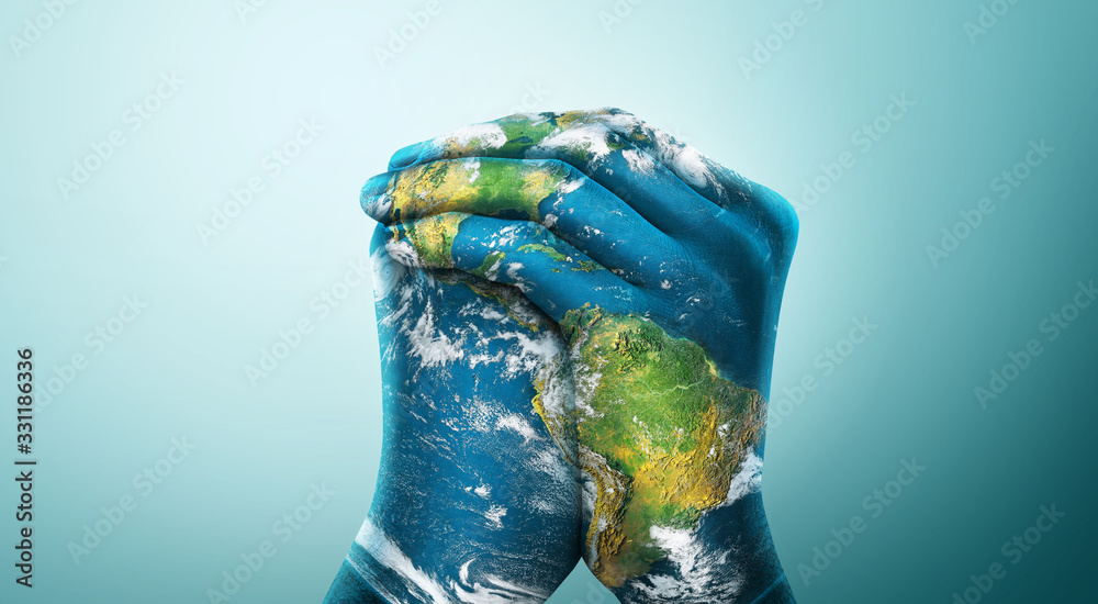 Fototapeta Green Planet in Your Hands. Save Earth. Environment Concept. Elements of this image furnished by NASA