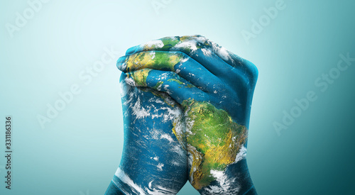 Obraz Green Planet in Your Hands. Save Earth. Environment Concept. Elements of this image furnished by NASA - fototapety do salonu