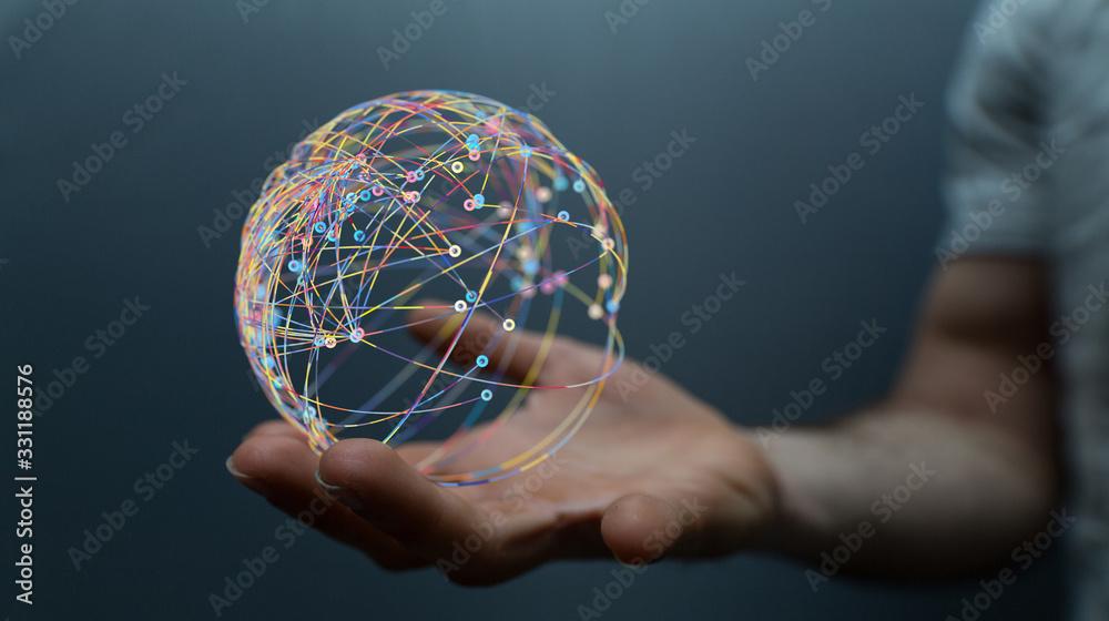 Fototapeta the 3d Global Network Of People.