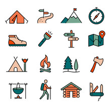 Hiking, Camping Icons