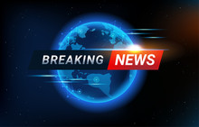 Breaking News Background With World Map Backdrop. Blue Global Connectivity Line And Headline Bar For Modern Futuristic News Template With Technology Sun Light Effect For TV Studio.