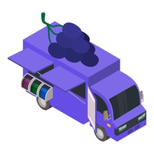 Grape And Wine Truck Icon. Iso...