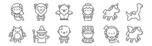 Set Of 12 Fantastic Characters Icons. Outline Thin Line Icons Such As Pegasus, King, Wizard, Unicorn, Griffin, Werewolf