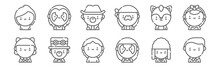 Set Of 12 Urban Tribes Icons. Outline Thin Line Icons Such As Preppy, Gothic, Steampunk, Furry, Hip Hop, Gothic