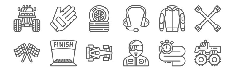 set of 12 motor sports icons. outline thin line icons such as monster truck, racer, finish, jacket, tyre, glove