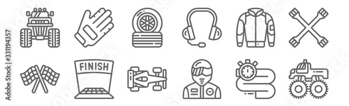 Fotografía set of 12 motor sports icons