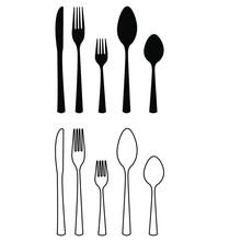 Cutlery Vector Icon Set. Fork,...