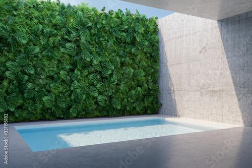 Backyard swimming pool with vertical garden Wallpaper Mural
