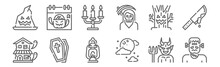 Set Of 12 Halloween Icons. Out...