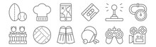 Set Of 12 Hobbies Icons. Outli...