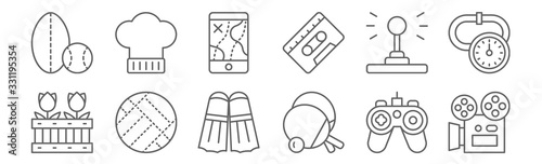 Obraz na plátně set of 12 hobbies icons
