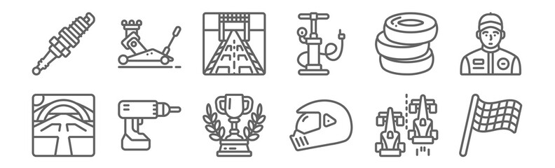 set of 12 motor sports icons. outline thin line icons such as racing flag, helmet, driller, tyre, start line, jack