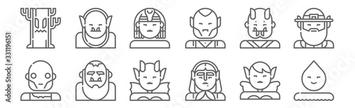 Fototapeta set of 12 fantastic characters icons