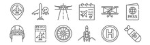 Set Of 12 Aviation Icons. Outl...
