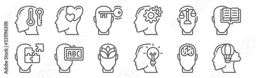 Obraz set of 12 human mind icons. outline thin line icons such as imagination, idea, knowledge, law, open mind, in love - fototapety do salonu