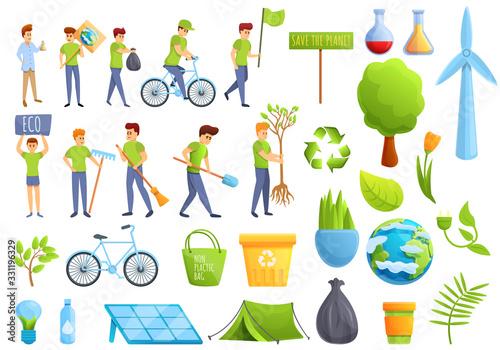 Valokuvatapetti Ecologist icons set