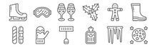 Set Of 12 Winter Icons. Outlin...