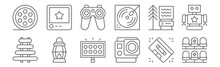 Set Of 12 Amusement Icons. Out...