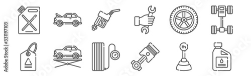 Fototapeta set of 12 car garage icons. outline thin line icons such as oil, piston, elevator, wheel, gas fuel, damage obraz