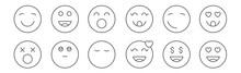 Set Of 12 Emoji Icons. Outline...