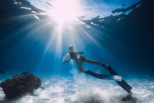 Woman Free Diver Glides With W...