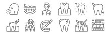 Set Of 12 Dental Icons. Outline Thin Line Icons Such As Tooth Cleaning, Broken Tooth, Dentist, Tooth, Dentist, Smile