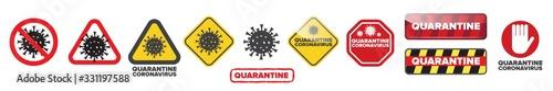 Obraz Stop coronavirus and quarantine sign icon set isolated on white background. - fototapety do salonu