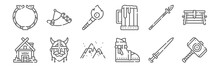 Set Of 12 Viking Icons. Outlin...
