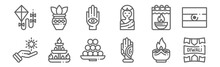 Set Of 12 Diwali Icons. Outlin...