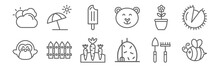 Set Of 12 Seasons Icons. Outline Thin Line Icons Such As Bee, Hay, Fence, Flower, Popsicle, Sun Umbrella