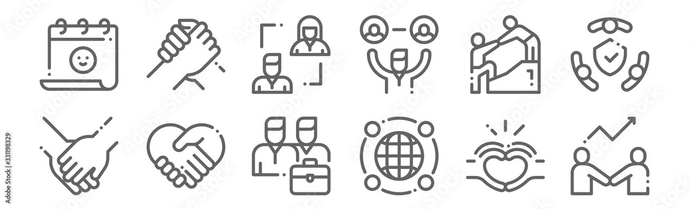 Fototapeta set of 12 friendship icons. outline thin line icons such as develop, around the world, respect, help, relationship, support