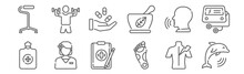Set Of 12 Theraphy Icons. Outl...