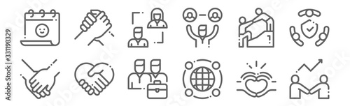 Fotografering set of 12 friendship icons