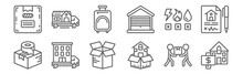 Set Of 12 Removals Icons. Outl...