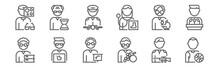 Set Of 12 Man Worker Avatar Ic...