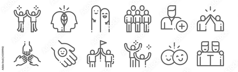 Fototapeta set of 12 friendship icons. outline thin line icons such as friends, happiness, friendly, add friend, friends, think
