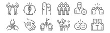 Set Of 12 Friendship Icons. Outline Thin Line Icons Such As Friends, Happiness, Friendly, Add Friend, Friends, Think