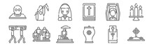 Set Of 12 Funeral Icons. Outli...