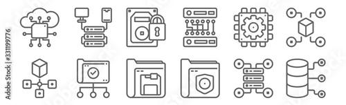 Obraz na plátně set of 12 data manager icons