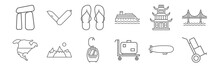 Set Of 12 Travelling Icons. Ou...