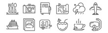 Set Of 12 Travel Icons. Outlin...