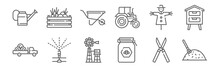 Set Of 12 Agriculture Icons. Outline Thin Line Icons Such As Haystack, Honey, Sprinkler, Scarecrow, Wheelbarrow, Vegetables