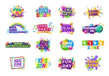 Kids Zone Entertainment Set Childish Banner Label Sticker Badge Logo. Cartoon Colorful Logo For Children's Playroom Decoration, Kids Zone Vector